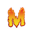 Letter m fire flames font lettering tattoo vector image