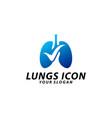 lungs check logo concept health lungs logo vector image