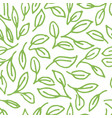 pattern with doodle green leaves vector image vector image