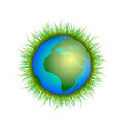 planet earth on white background vector image vector image