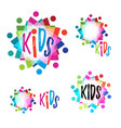 rainbow logotype bright and colorful kids logo vector image