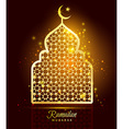 Ramadan Kareem celebration with gold mosque vector image vector image