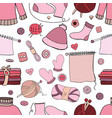 seamless hand drawn knitting pattern on white vector image vector image