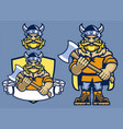 set cartoon viking mascot vector image