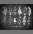 set doodle christmas trees on blackboard vector image vector image