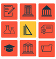 set of 9 education icons includes graduation vector image vector image