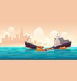 shipwreck cargo ship vessel sinking in ocean vector image vector image