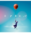 Silhouette of the man flying by a balloon vector image vector image