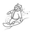 snowboarder pig santa claus symbol 2019 vector image