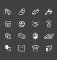 soccer element white icon set on black background vector image vector image