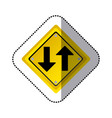 sticker yellow diamond shape frame two way traffic vector image vector image