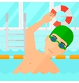 Swimmer training in pool vector image vector image