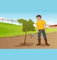 teenager planting a tree vector image vector image