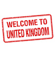 welcome to United Kingdom red grunge square stamp vector image vector image