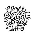 you light up my life monoline love lettering vector image vector image