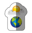 color earth planet with cloud rainning and sun vector image