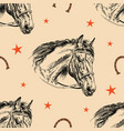 seamless pattern horse head vector image