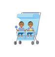 african baby with toys twins double blue stroller vector image vector image