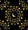 arabic golden seamless pattern on black background vector image