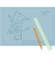 architect draft pencil and ruler vector image