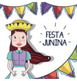 beautiful woman with hat celebrating the festa vector image vector image