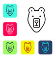 black line bear head icon isolated on white vector image vector image