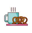 breakfast coffee and pretzel hot fresh food vector image