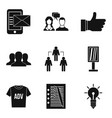 business strategy icons set simple style vector image vector image