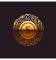 Calligraphic Gold monogram Emblem S vector image vector image