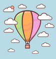 cute air balloon with outline in sky with clouds vector image