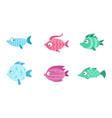 cute fish set tropical sea or aquarium fish vector image vector image