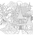 drawing medieval haunted house happy halloween th vector image vector image