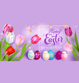 easter eggs on violet background vector image vector image