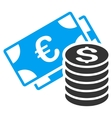 Euro and Dollar Cash Flat Icon vector image vector image