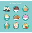 favorite ice cream set flat design vector image