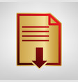 file download sign red icon on gold vector image vector image