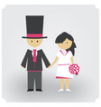 groom and bride in pink vector image