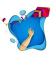 hand holding kite over abstract curve shapes of vector image