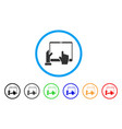 hand points pda rounded icon vector image vector image