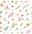 herbal and floral doodle seamless pattern 2 vector image vector image