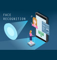 isometric design the smartphone scans face of vector image