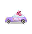 just married retro purple car with heart shaped vector image