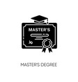 masters degree black glyph icon vector image