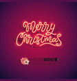 merry christmas red neon sign vector image vector image