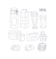 Milk And Dairy Products Isolated Icons Hand Drawn vector image vector image