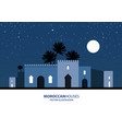 night view of mediterranean arabic or moroccan vector image