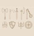 old set of weapons and equipment hand drawn vector image
