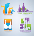 ollection of wine glass cocktail and coffee symb vector image vector image