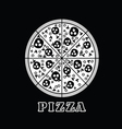 pizza italy in black and white vector image