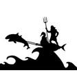 poseidon neptunus god dolphin chariot silhouette vector image vector image